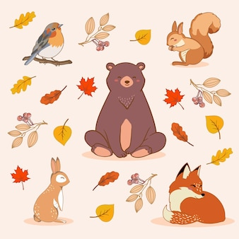 Hand-drawn autumn forest animals