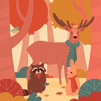 手描きの秋の森の動物