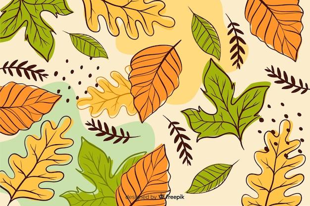손으로 그린가 숲 나뭇잎 배경