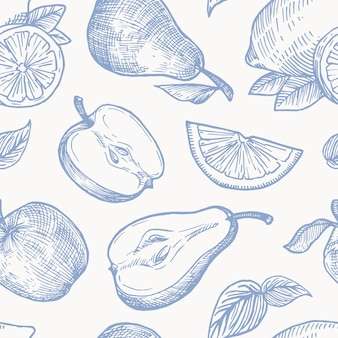 Hand drawn autumn fruits harvest  seamless background pattern. oranges, lemon, apples and pears sketches card or cover template
