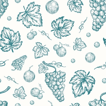 Hand drawn autumn grapes harvest  seamless