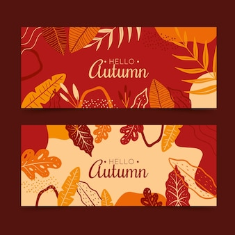 手描き秋の水平バナーセット