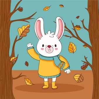 Hand drawn autumn illustration with rabbit