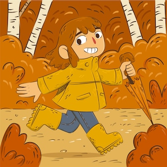 Hand drawn autumn illustration with smiling girl running in the forest while holding umbrella