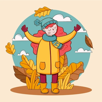 Hand drawn autumn illustration with woman outdoors