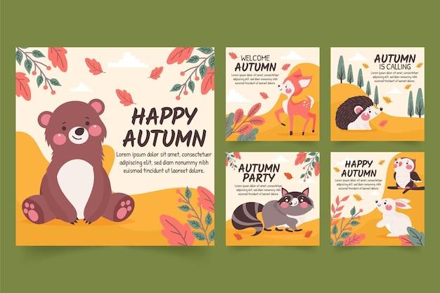 Hand drawn autumn instagram posts collection