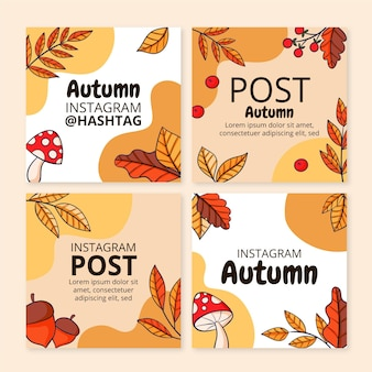 Collezione di post di instagram autunnali disegnati a mano