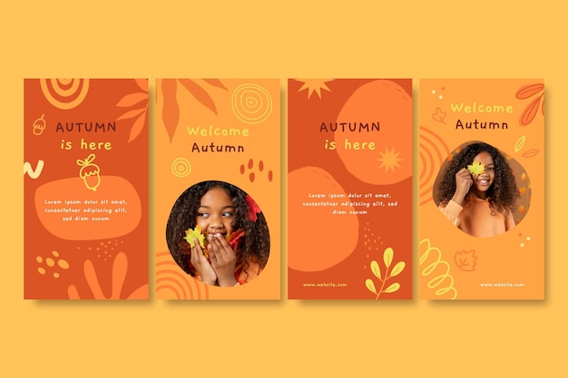 Hand drawn autumn instagram stories collection with photo