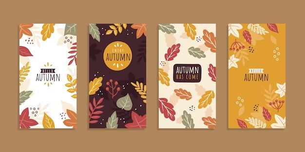 手描きの秋のinstagramストーリーコレクション
