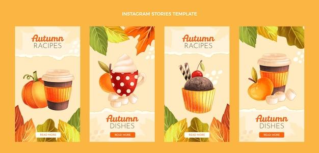Hand drawn autumn instagram stories collection