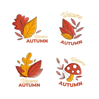 Hand drawn autumn label set