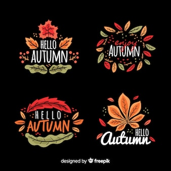 Hand drawn autumn labelcollection