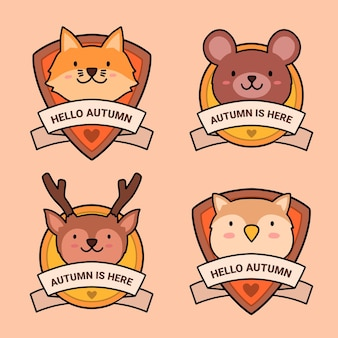 Hand drawn autumn labels collection