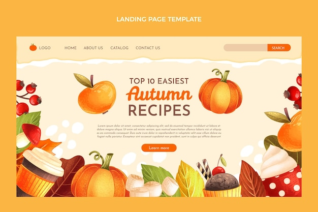 Hand drawn autumn landing page template