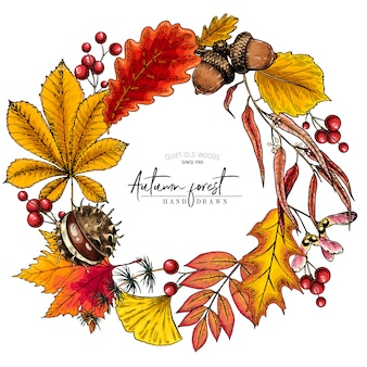 Hand drawn autumn leaf. vector colorful wreath
