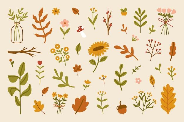 손으로 그린 가을 잎과 꽃 추상 장식 계절 단풍 요소 컬렉션