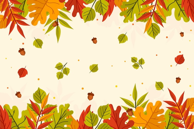 Hand drawn autumn leaves background with colorful leaves