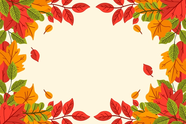 Hand drawn autumn leaves background with empty space