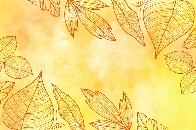 Hand drawn autumn leaves background