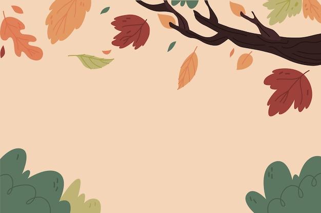 손으로 그린 가을 단풍 배경