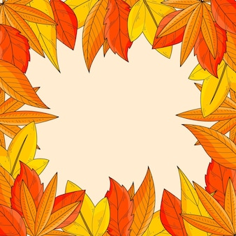Hand drawn autumn leaves frame background