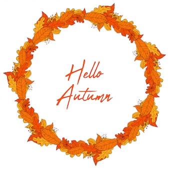 Hand drawn autumn leaves frame wreath vector illustration