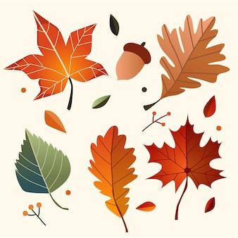 Пакет рисованной осенние листья