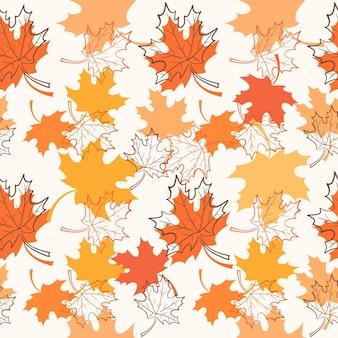手描きの秋の葉のシームレスなパターン