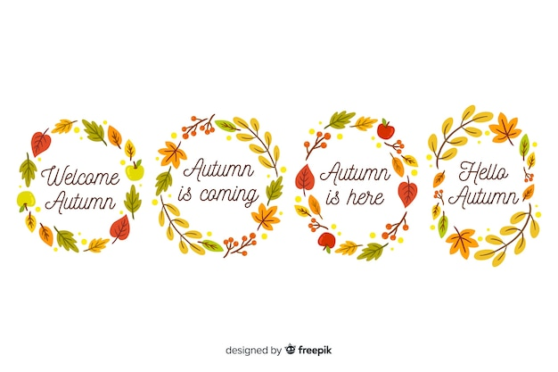 Hand drawn autumn leaves wreath collection