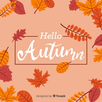 Hand drawn autumn lettering background
