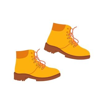 Нарисованная рукой осенняя или зимняя теплая обувь