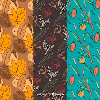 Hand drawn autumn pattern collection with leaves
