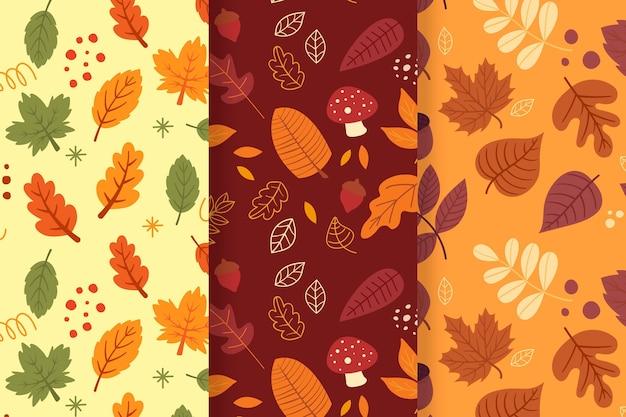 手描きの秋のパターンコレクション