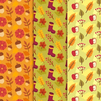 Hand drawn autumn pattern with golden leaves