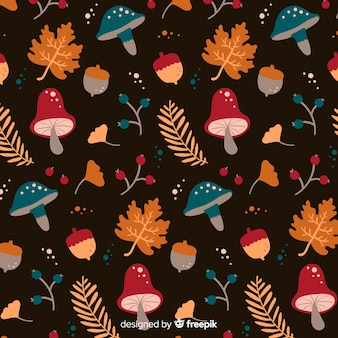 Hand drawn autumn pattern with leaves