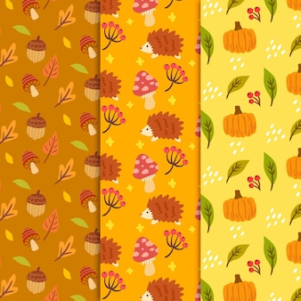 Hand drawn autumn pattern with pumpkin and leaves