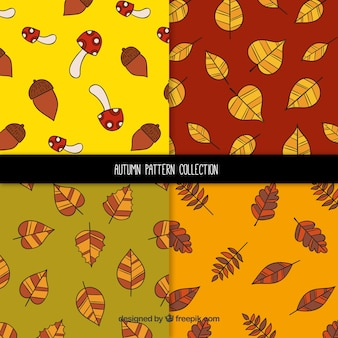 Hand drawn autumn patterns with leaves