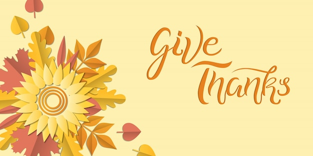 Hand drawn autumn poster with colorful leaves, paper art style. illustration give thanks