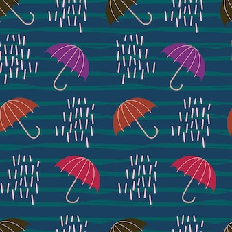 Hand drawn autumn rain with umbrella seamless pattern
