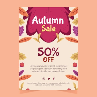 Hand drawn autumn sale a4 flyer