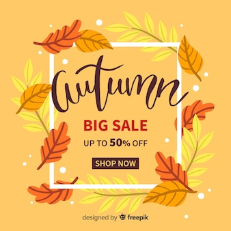 Hand drawn autumn sale background