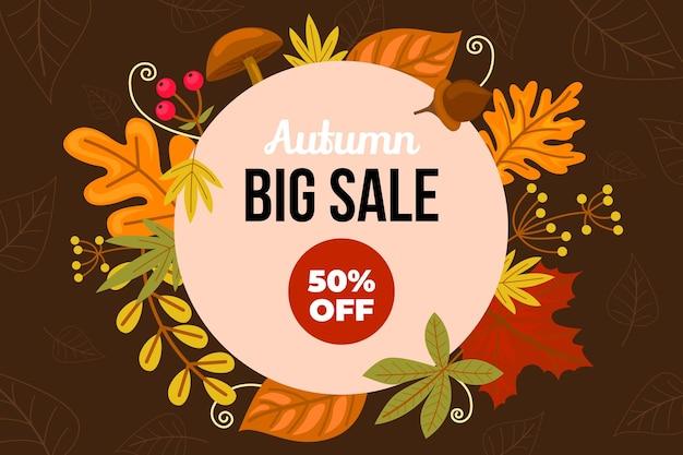 Hand drawn autumn sale background