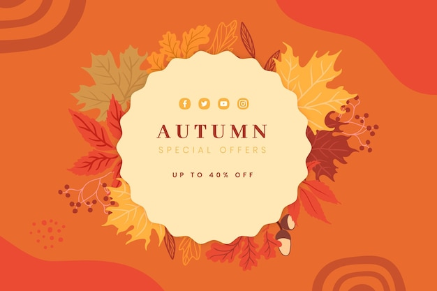 手描き秋のセールの背景 無料ベクター
