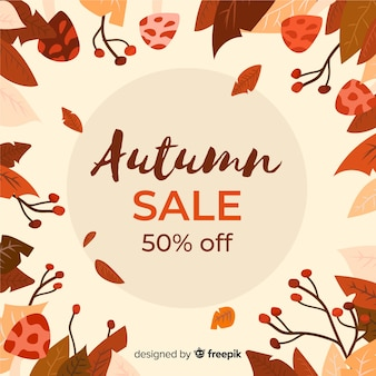 Hand drawn autumn sale banner