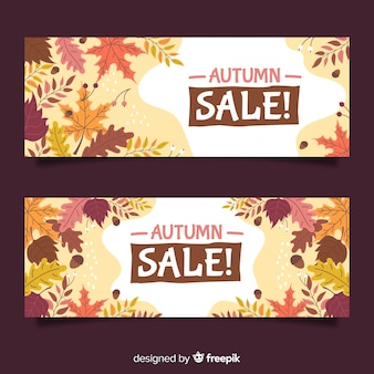 Hand drawn autumn sale banners collection