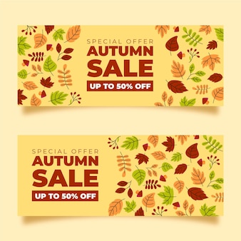Hand drawn autumn sale banners pack