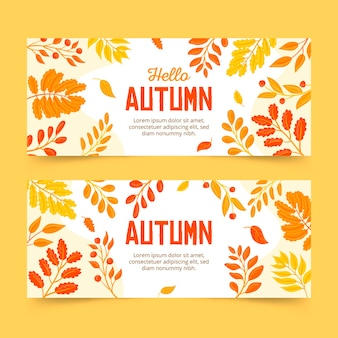 Hand drawn autumn sale banners set