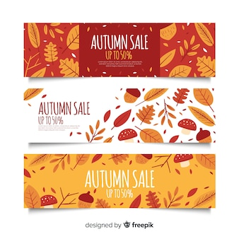 Hand drawn autumn sale banners template