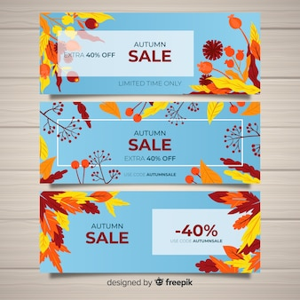 Hand drawn autumn sale banners