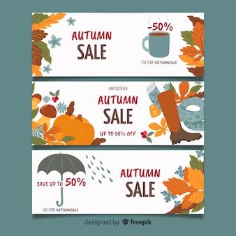 Hand drawn autumn sale banners